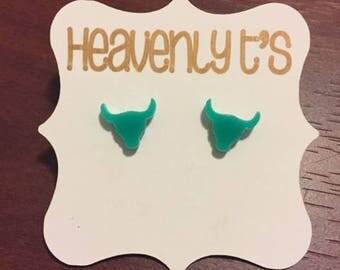 Mint Bull Head Earrings