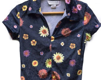 Velvet Velour Collared Fitted 1990s Floral Top