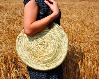 Round Handmade basket Straw bag  - Summer carrycot, palm tree leaves bag, boho bag, beach bag, beach bag, french market basket