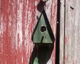 Bird house beach glass wind chime sea glass windchime
