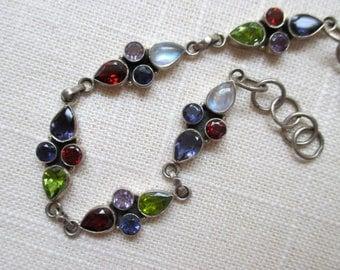 Sterling Silver Multi Gem Bracelet - Iolite - Moonstone - Amethyst
