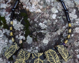 Gold leaf fabric covered pendant necklace 44cm by Andrew Paget