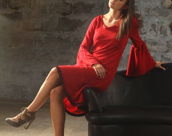 01189 Red Bell Sleeve Dress