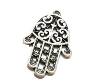 Antiqued Silver Hamsa Hand Charms 44 x 30mm
