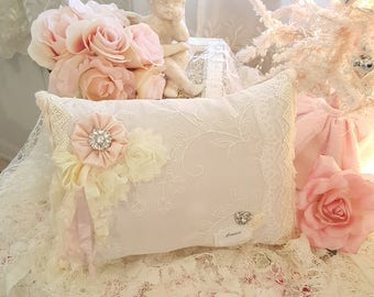 Romantic Shabby Chic Pink French Decorative Pillow Vintage Lace And Ribbon Amour With Crystal Button Embellishments French Cottage Pillow