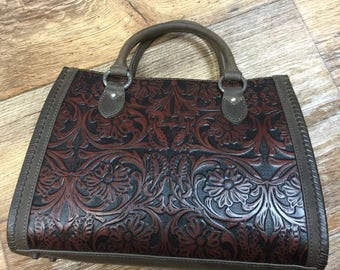 Hand carved Leather Handbag