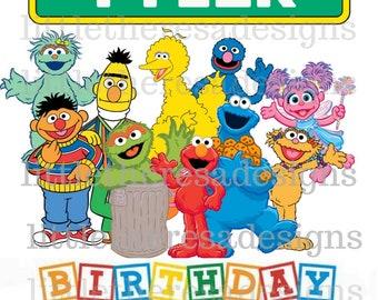 Sesame Street Birthday Boy and Family Digital Image,Digital Transfer,Digital Iron On,Diy