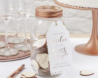 Wedding day Wishing jar guest book with 100 wooden hearts notes included