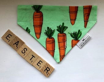 Over the collar cat or dog bandana - Easter Carrots - FREE SHIPPING