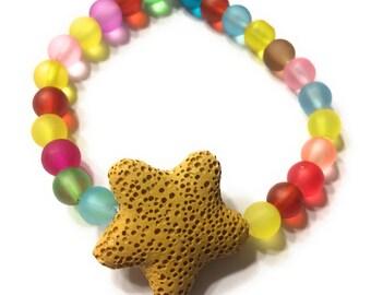 Rainbow Children's Essential Oil Diffuser Bracelet with Star Lava Stone