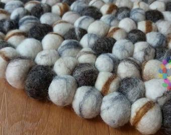 Round Felted Stone Rug, pom pom, Scandinavian rug . Pebble wool Nursery / Living Room Rug .100 % wool Nepal Rug (Free Shipping)