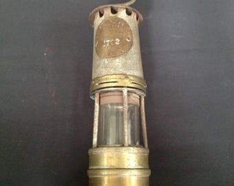 Vintage English Coal Miners Lamp,Hallwoods Improved