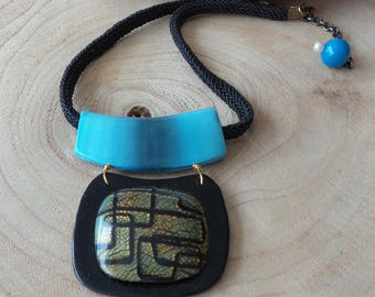 Imitation blue Horn and Dichroic Glass necklace