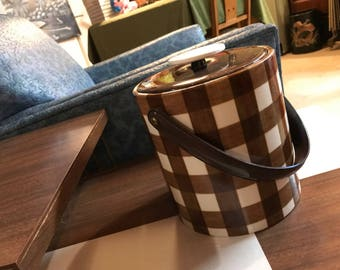 Vintage 1970's Brown and White Checkered Ice Bucket