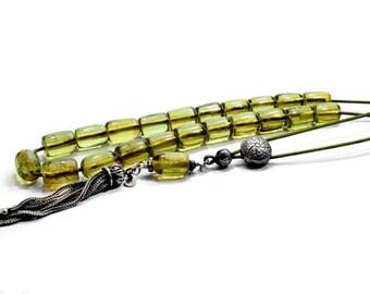 Rare Caribbean Green Amber, Collectible Komboloi, 100% Authentic Natural Caribbean Amber, Prayer Beads, Tesbih, Gift for Collector, Misbaha