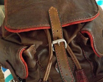 Leather handmade draw string backpack
