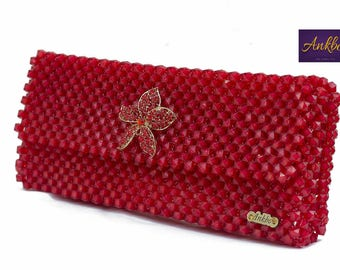 Strawberry red bead purse