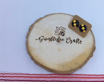 Round Fabric Covered Button Earrings - black with yellow polka dot