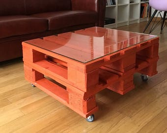 Two 1/2 Orange pallet industrial coffee table