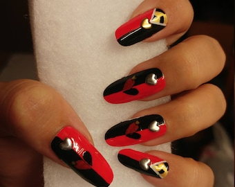 Acrylic press on nails etsy uk queen of hearts nails prinsesfo Choice Image