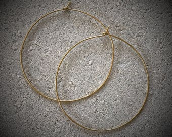 Large Gold Hoops / Lightweight Gold Hoops / Gold Hoop Earrings / Thin Gold Hoop Earrings