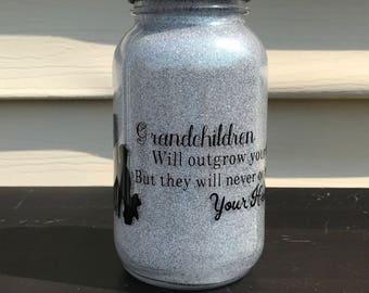 Grandparents Silver Glitter Mason Jar Lantern Grandparents Gift Night Light