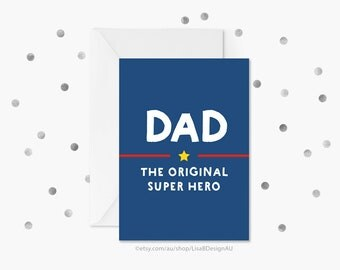Fathers Day Card | Dad, the Original Super Hero | Card for Him | Stepdad Card | Cool Dad Stuff | Best Dad | Gifts for Dad | GCFDCA607