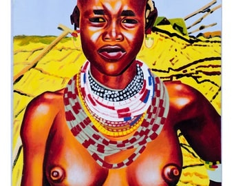 Hand painted Oil painting of Maasai Woman
