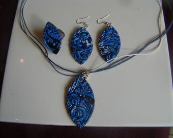 Set three polymer clay blue, black and white