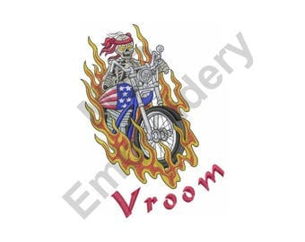 Skeleton On Motorcycle - Machine Embroidery Design