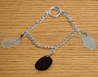 Brown and clear seaglass bracelet