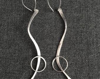 Art Deco Long Sterling Silver Drop Earrings in Free-Form