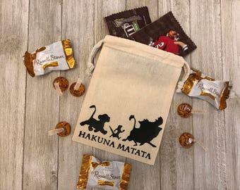 Hakuna Matata-Means No Worries-Disney-Lion King-Disney Wedding-Jungle Theme-Party Favors-Thank You Gift-Wedding-Muslin Bag