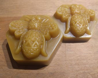 Raw, unfiltered beeswax, 1 or 2 oz in pretty bee mould