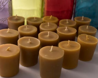 Set of 15 votive candles made with a blend of relaxing essential oils (lavender, ginger, and cedar)