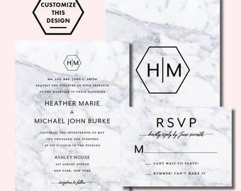 MARBLE MONOGRAM INVITATION / Marble Invitation / Wedding Invitations / Custom Wedding Invitation / Wedding Suite / Modern Wedding Suite