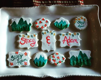 12 Mountain Wedding Cookies (1 Dozen) / Mountain Birthday / Party / Peaks / Destination Wedding / Mountain Retreat