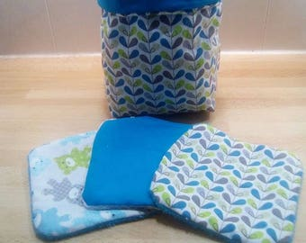 Cotton basket and its eight cleansing wipes assorted cotton and sponge