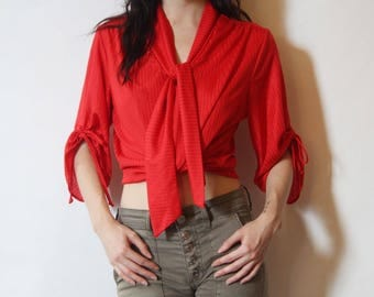 70s Red Blouse With Tie Sleeves S/M