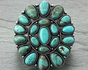 Natural Turquoise Squash Blossom Naja Stretch Bracelet-B#710700008