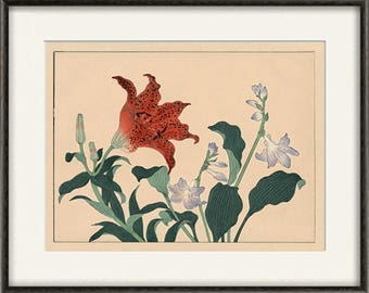 Lily art print Japanese botanical prints garden wall art home decor wall art japan poster antique print japanese decor flower wall art