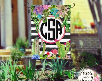 Personalized Garden Flag - Succulent and Cactus Striped Custom Yard Flag