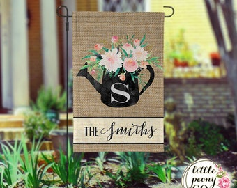 Personalized Garden Flag - Chalkboard Watering Can & Flowers
