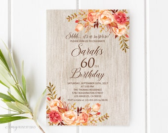 Fall Surprise Birthday Invitation, Rustic 60th Birthday Invitation, Any Age Birthday Invite, PERSONALIZED, Digital file, #W81