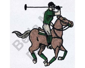 Sports Polo Player - Machine Embroidery Design, Horse Embroidery