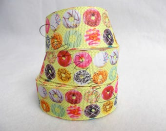 "ONE TIME OFFER. Donuts or Doughnuts on 1"" Grosgrain Ribbon. 5 Yards. Multicolored. delicous looking. Large variety"