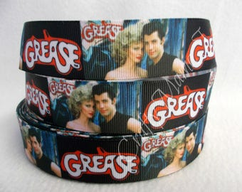 """Grease Movie 1"""" Grosgrain Ribbon by the yard. Choose 3/5/10 yards. Grease is a 1978 American musical romantic comedy film"""