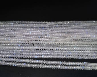 Lot of 5 Or 10 Strands AAA 100% Natural White Rainbow Moonstone Faceted Rondelle Beads Strand 2.5-3 or 3.5-4mm| Tiny Rainbow Moonstone Beads