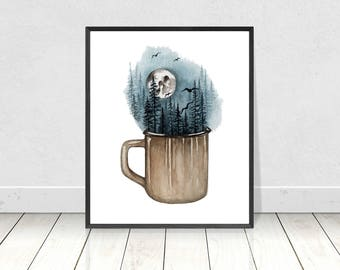 Camping Mug with Tree Landscape and Night Sky with Full Moon Painting Fine Art Print- Giclee Art Prints Home Decor-Wall Art- 8X10 to 18X24