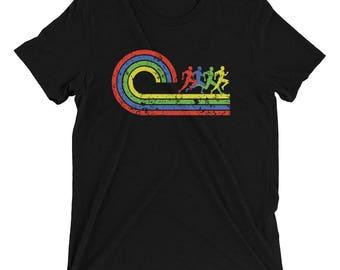 Men's Retro Track Runner TriBlend T-Shirt - Running T-Shirt - Men's Short Sleeve Run Shirt